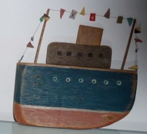 Graham Stuart, Boat, wood with painting and mixed media, 19cm high