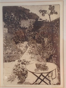 Jennifer Beales's etching of the Beales's garden
